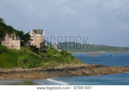 Brittany, The Beach Of Trestrigniel In Perros Guirec