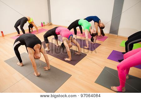 Backbend Pose In A Yoga Class