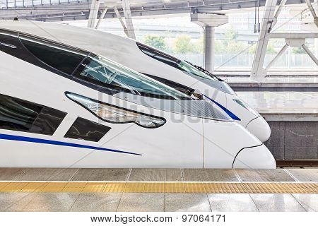 High Speed Train At The Railways Station.