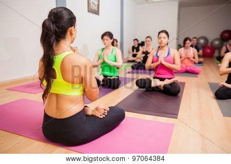 Meditating During Yoga Class