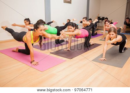 Group Of People In A Yoga Class