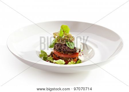 Beef Steak with Tomato, Beans and Dorblu Sauce