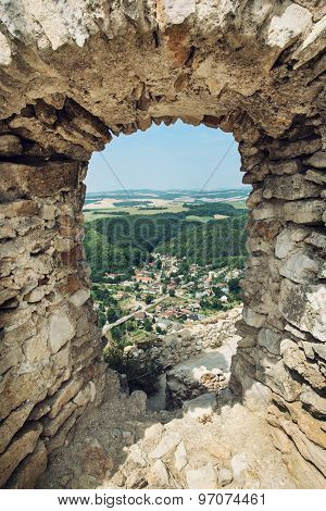 View Of The Village Visnove From The Ruins Of Castle Cachtice