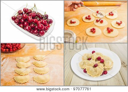 Tray with cherries making ukrainian varenyky (dumplings) filled with sour cherry with sugar on a wood cutting board and ready meals poster