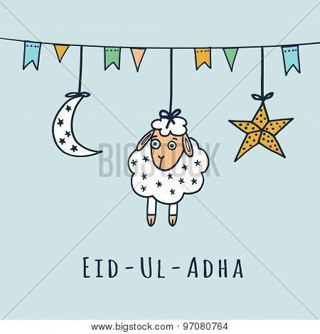 Eid-ul-adha Greeting Card With Sheep, Moon, Star, Vector