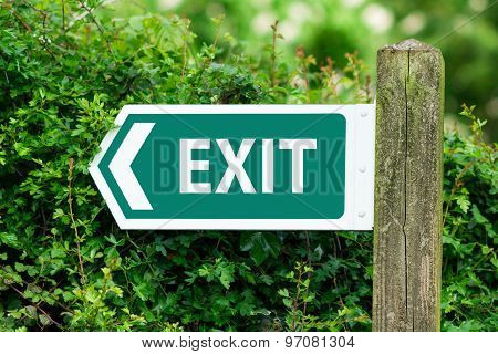 Direction Arrow, Sign To Exit In Green Color