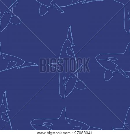 Grampus whale seamless vector pattern