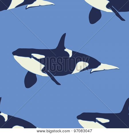 Grampus whale seamless vector pattern in