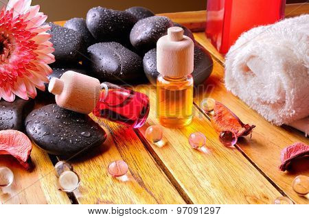 Containers And Oil Balls For Body Care Brown Gradient Background