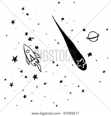Hand Drawn, Sketch, Cartoon Illustration Of Rocket And Stars