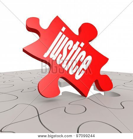 Justice Word With Puzzle Background