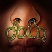 Cold and flu symptoms medical health care concept as nostrils dripping mucus flowing out of a human nose as a medical symbol for seasonal sinus infection or nasal congestion. poster