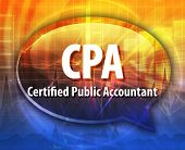 word speech bubble illustration of business acronym term CPA Certified Public Accountant poster