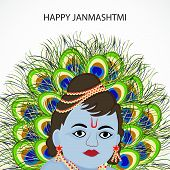 illustration of a Baby Krishna with peacock feathers for Happy Janmashtmi. poster