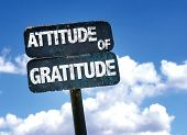 Attitude of Gratitude sign with sky background poster