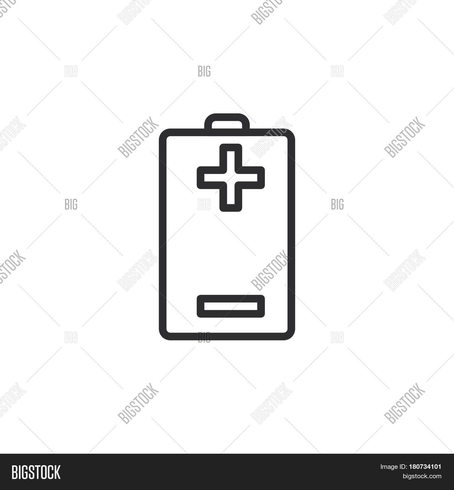 Battery Plus Minus Line Icon Vector & Photo | Bigstock
