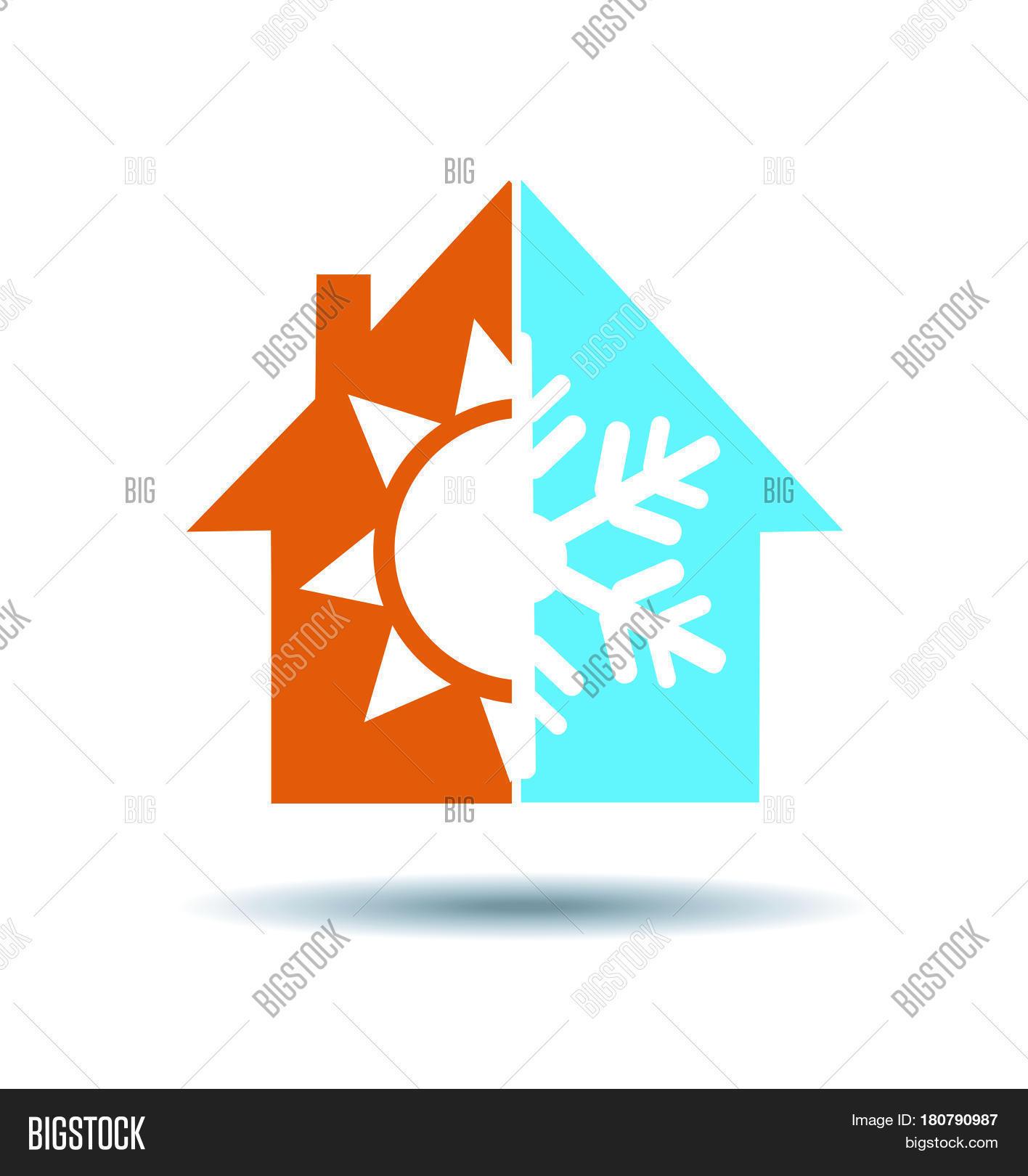Vector y foto Air Conditioning Symbol - Warm Cold   Bigstock