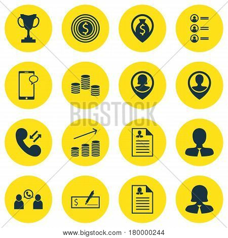 Set Of 16 Management Icons. Includes Job Applicants, Business Goal, Pin Employee And Other Symbols. Beautiful Design Elements.