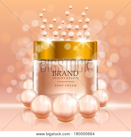 Beauty cream with pearls and bubbles on peach background. Skin care product advertising concept for cosmetic industry. Vector