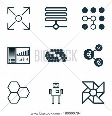 Set Of 9 Robotics Icons. Includes Branching Program, Algorithm Illustration, Laptop Ventilator And Other Symbols. Beautiful Design Elements.