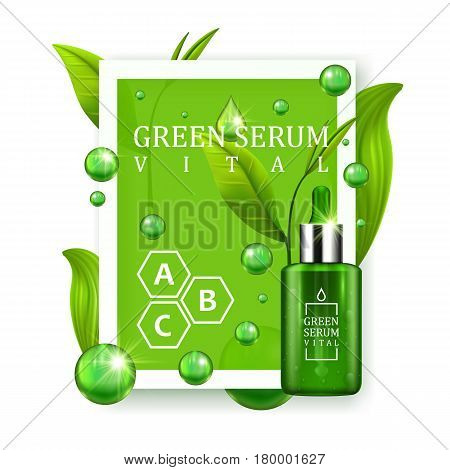 Vital serum dropper bottle decorated with green leaves on white background. Skin care vitamin formula treatment design. Beauty product concept. Vector