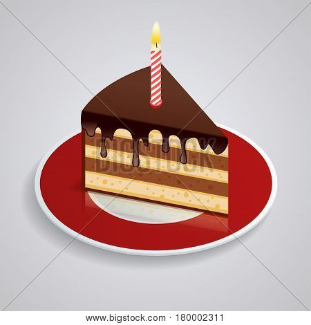 A piece of chocolate cake with one candle on a saucer. Celebrating the birthday of 1 year. The food is sweet. Isometric Piked. Isolated on white background