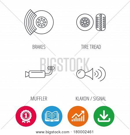 Tire tread, brakes and steering wheel icons. Muffler, klaxon signal linear signs. Award medal, growth chart and opened book web icons. Download arrow. Vector