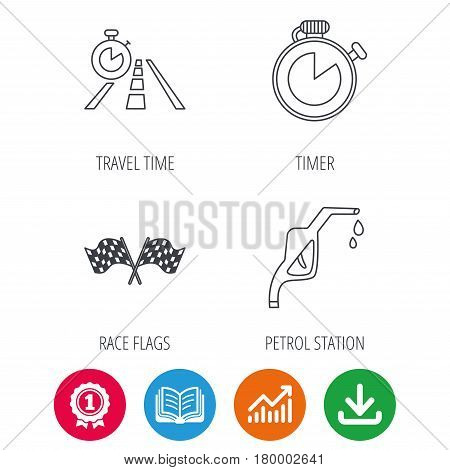 Race flags, travel timer and petrol station icons. Timer linear sign. Award medal, growth chart and opened book web icons. Download arrow. Vector