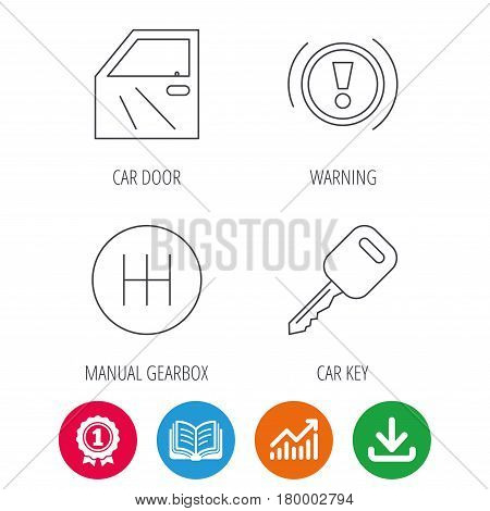 Car key, warning and manual gearbox icons. Car door, transmission linear signs. Award medal, growth chart and opened book web icons. Download arrow. Vector