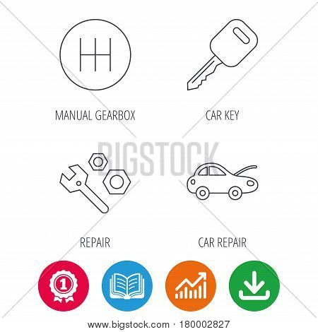 Car key, repair tools and manual gearbox icons. Car repair, transmission linear signs. Award medal, growth chart and opened book web icons. Download arrow. Vector