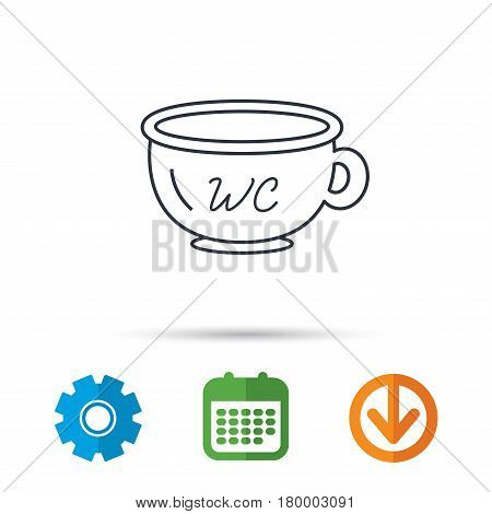 Baby wc pot icon. Child toilet sign. Washroom or lavatory symbol. Calendar, cogwheel and download arrow signs. Colored flat web icons. Vector