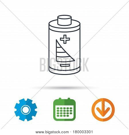 Battery icon. Electrical power sign. Rechargeable energy symbol. Calendar, cogwheel and download arrow signs. Colored flat web icons. Vector