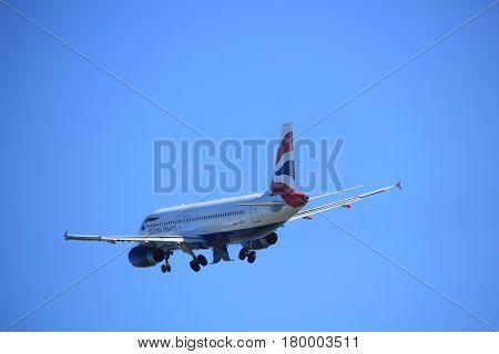 Amsterdam the Netherlands - April 2nd 2017: G-GATJ British Airways Airbus A320-200 takeoff from Polderbaan runway Amsterdam Airport Schiphol