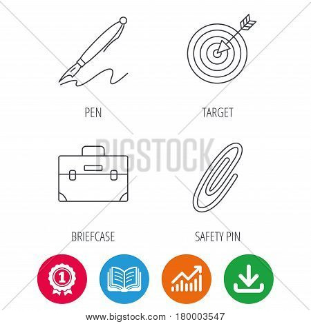 Briefcase, safety pin and target icons. Pen linear sign. Award medal, growth chart and opened book web icons. Download arrow. Vector