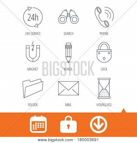 Phone call, pencil and mail icons. Search, 24h support and folder linear signs. Hourglass, magnet energy flat line icons. Download arrow, locker and calendar web icons. Vector