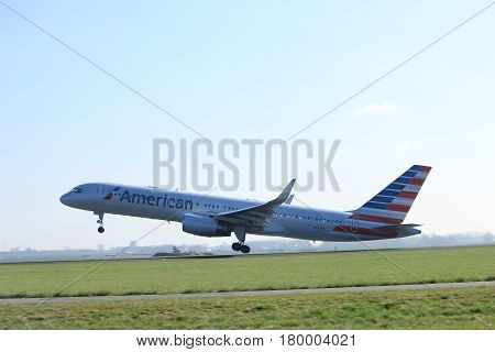 Amsterdam the Netherlands - April 2nd 2017: N177AN American Airlines Boeing 757-200 takeoff from Polderbaan runway Amsterdam Airport Schiphol