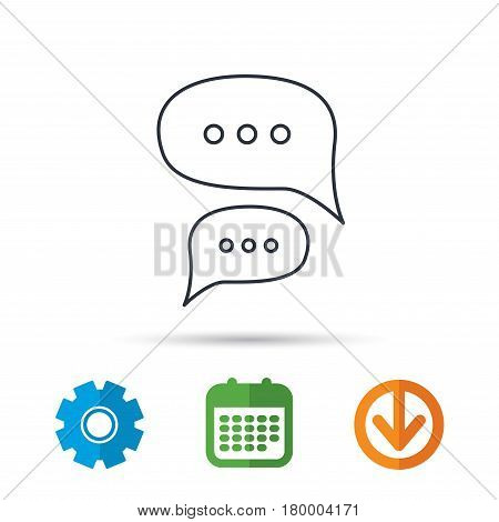 Chat icon. Comment message sign. Dialog speech bubble symbol. Calendar, cogwheel and download arrow signs. Colored flat web icons. Vector