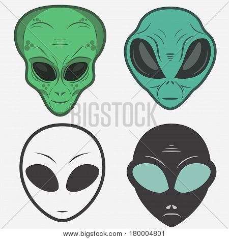 Alien face icon set, humanoid head outline, futuristic space invader, paranormal fantasy emblem vector illustration
