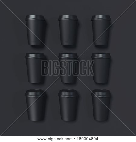 Set of black cardboard coffee cups isolated on dark background. 3d rendering