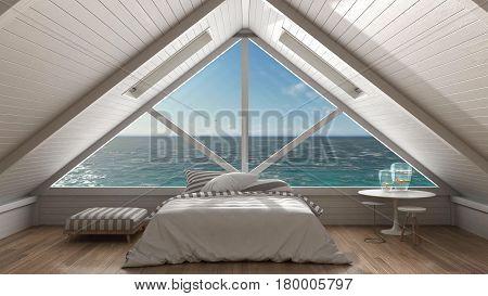 Panoramic window on open sea ocean mezzanine loft bedroom with relaxing double bed minimalist scandinavian interior design, 3d illustration