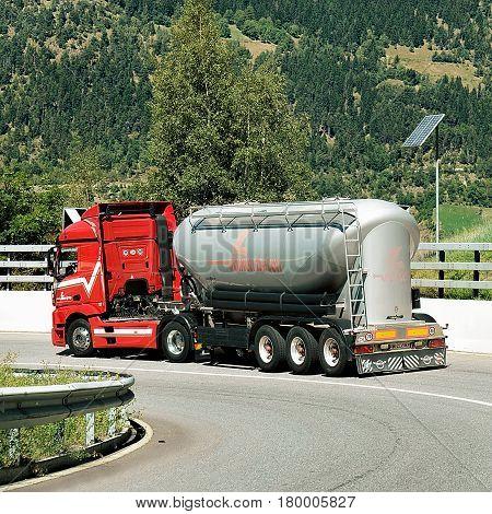 Truck On Road In Visp In Swiss