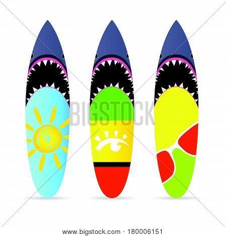 Surfboard With Shark On It Set Leisure Illustration