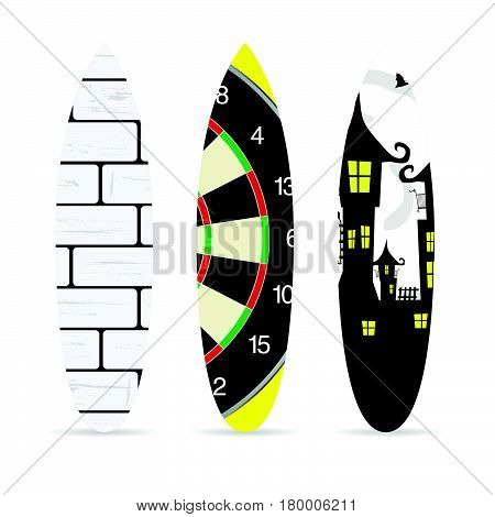 Surfboard With Various Element On It Set Illustration