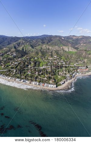 Aerial view of Malibu Cove north of Los Angeles California.