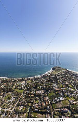 Aerial view of shoreline view estates in Malibu, California.