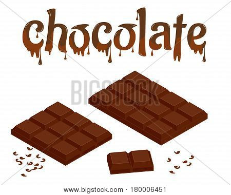 Isometric Set of chocolate bars isolated on white. Chocolate lettering design vector illustration. Liquid dark chocolate isolated on white background