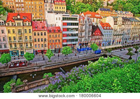 Roof Top View Of Promenade Street In Karlovy Vary