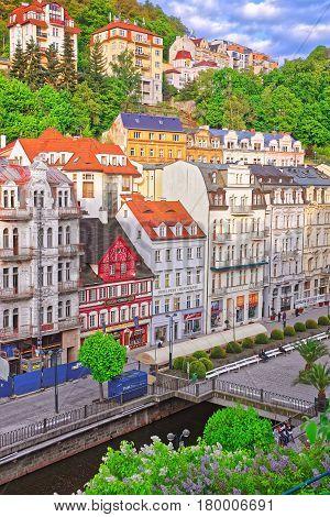 View On Promenade In Karlovy Vary In Czech Republic