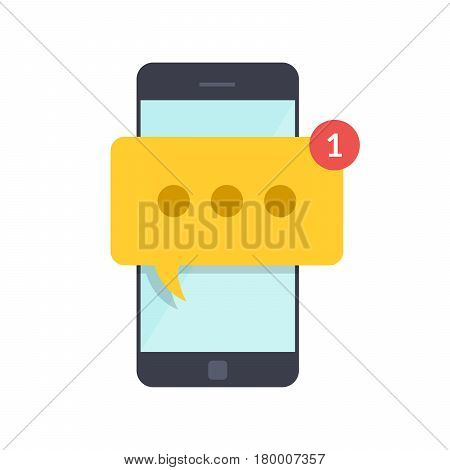 Smartphone with new message on screen. Chat, sms, tweet, instant messaging, mobile messenger concepts for web sites, web banners, printed materials. Flat illustration isolated on white background