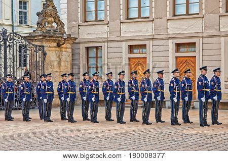 Change Of Guard In Prague Castle